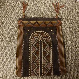Ugg leather boho studded fringe bag